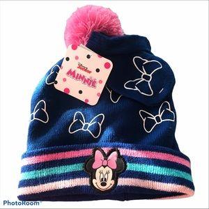 NWT Disney Junior Minnie Mouse  Hat & Mittens Set